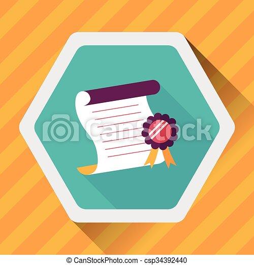 平ら, アイコン, 影, 長い間, 卒業証書 - csp34392440