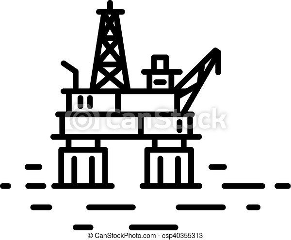 平ら, オイル, 線である, ガス, イラスト, プラットホーム, ∥あるいは∥, 沖合いに - csp40355313