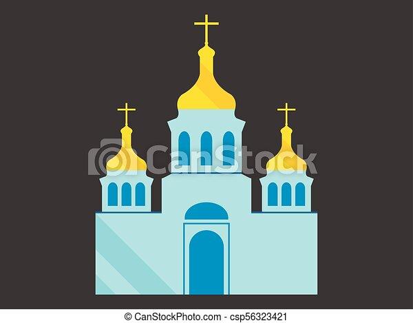 平ら, キリスト教徒, 正統, architecture., イラスト, ドーム, ベクトル, 教会, 宗教, スタイル - csp56323421