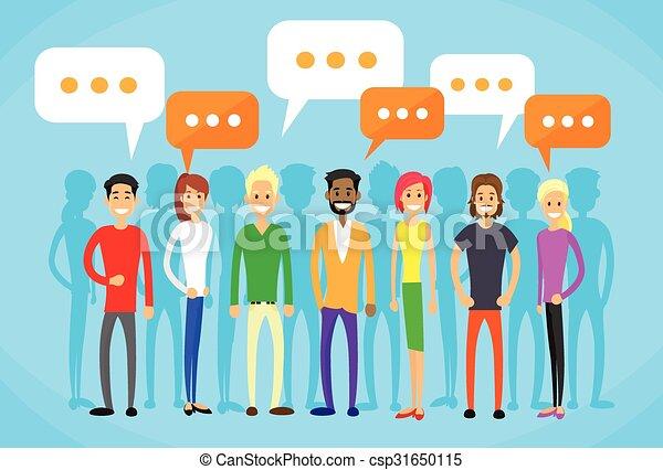 平ら, グループ, ネットワーク, 人々, コミュニケーション, チャット, 社会 - csp31650115