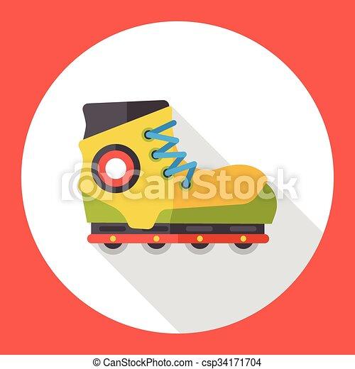 平ら, スケート, 交通機関, ローラー, アイコン - csp34171704