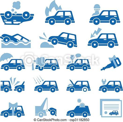 平ら, スタイル, アイコン, 自動車, set., イラスト, ベクトル, 保険 - csp31182850