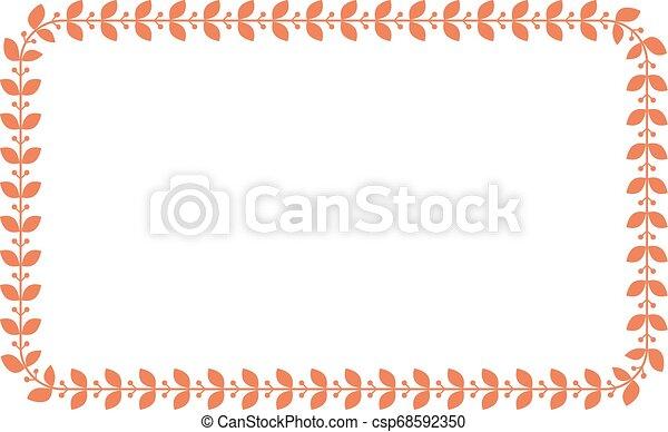 平ら, スタイル, 広場, レース, border., 色, ベクトル, frame., 花, 月桂樹, 長方形, illustration. - csp68592350