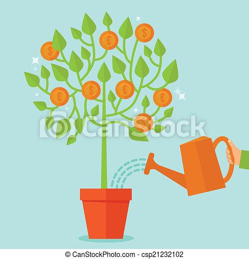 平ら, スタイル, 概念, お金の 木, ベクトル - csp21232102