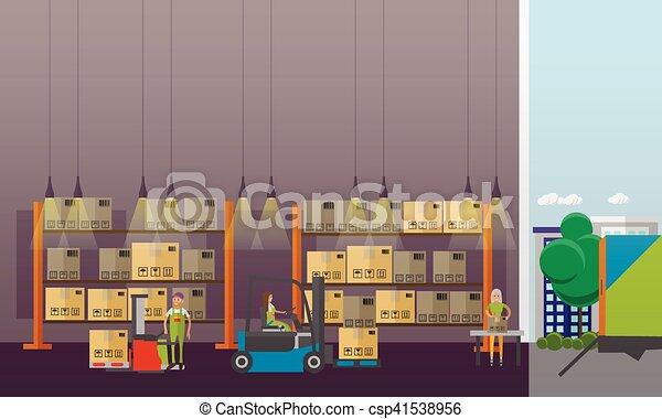 平ら, スタイル, 概念, サービス, banner., イラスト, 出産, ベクトル, デザイン, ロジスティックである, interior., 倉庫 - csp41538956