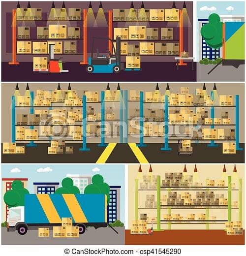 平ら, スタイル, 概念, サービス, banner., イラスト, 出産, ベクトル, デザイン, ロジスティックである, interior., 倉庫 - csp41545290