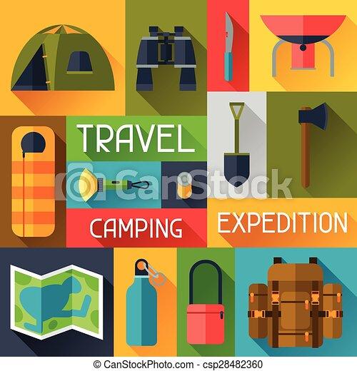 平ら, スタイル, 観光客, キャンプ 装置, 背景 - csp28482360