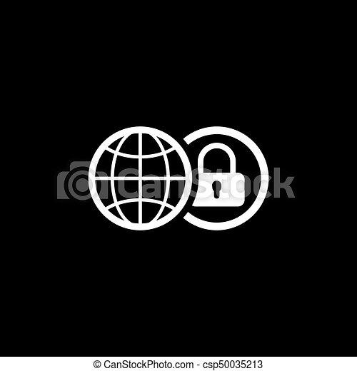 平ら, セキュリティー, 世界的である, icon., design. - csp50035213