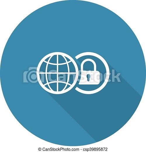 平ら, セキュリティー, 世界的である, icon., design. - csp39895872