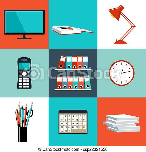 平ら, セット, オフィス, もの, 装置, ベクトル, objects. - csp22321558