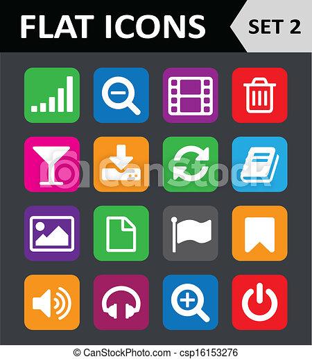 平ら, セット, カラフルである, 普遍的, icons., 2. - csp16153276