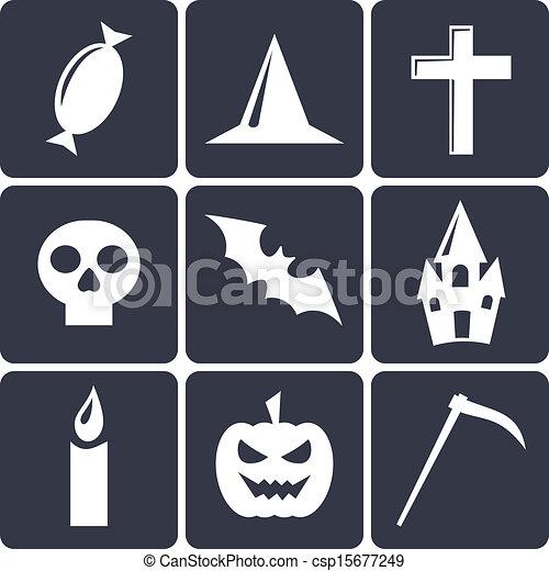 平ら, セット, ハロウィーン, icons., 1, ベクトル - csp15677249