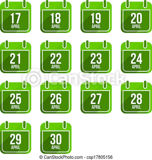平ら, セット, 14, 日々, icons., 4 月, ベクトル, 年, カレンダー - csp17805156