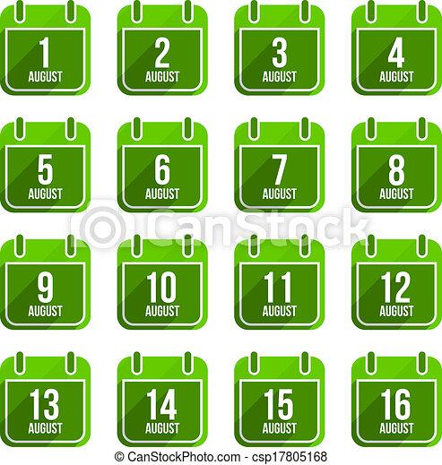 平ら, セット, 8月, 日々, icons., ベクトル, 年, カレンダー, 21 - csp17805168