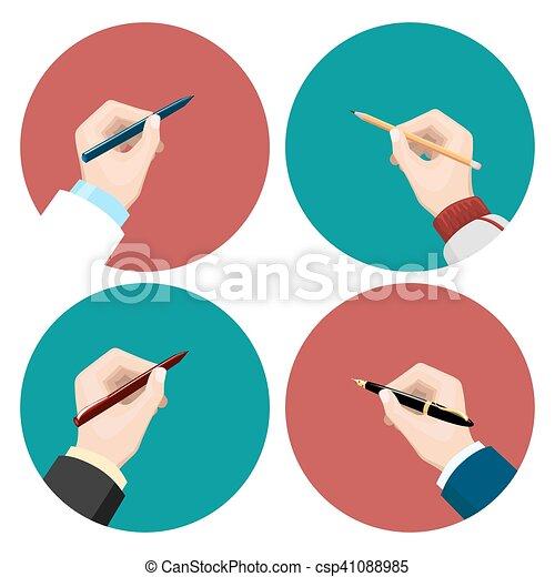 平ら, セット, writting, アイコン - csp41088985