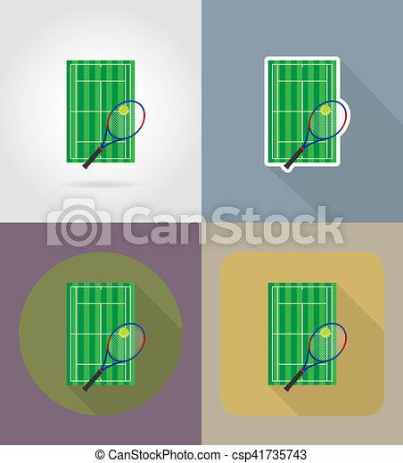 平ら テニスコート イラスト アイコン 平ら 法廷 アイコン テニス