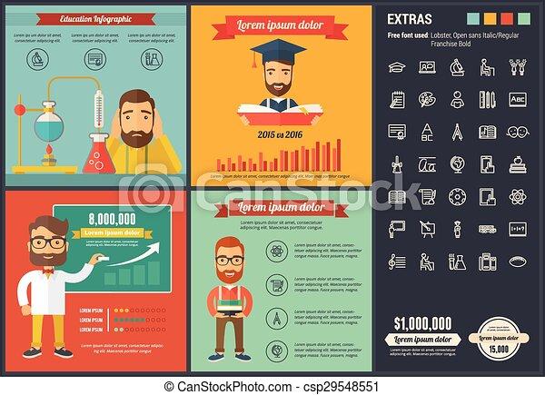 平ら, デザイン, infographic, 教育, テンプレート - csp29548551