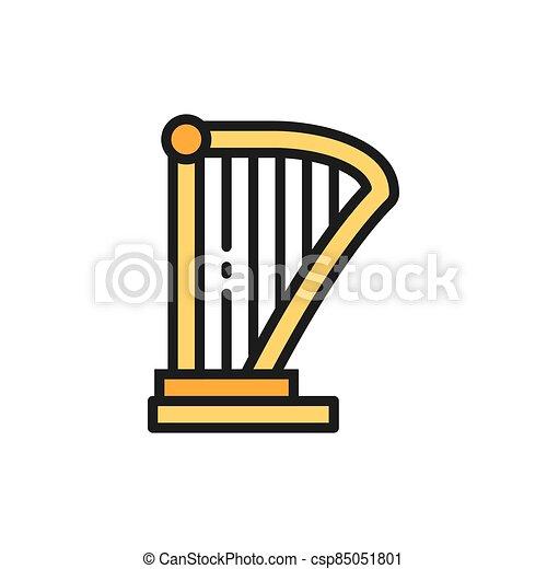 平ら, ハープ, リラ, 音楽機器, icon., 色, 線 - csp85051801