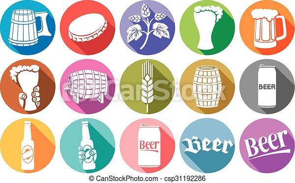 平ら, ビール, コレクション, アイコン - csp31192286