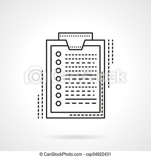 平ら, ベクトル, デザイン, 調査, 線, アイコン - csp34922431