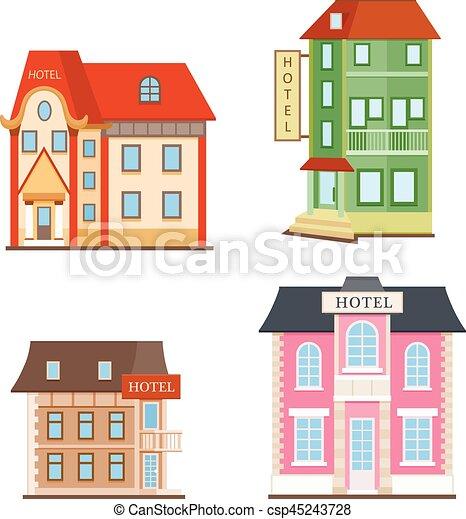 平ら, ホテル, セット, アイコン - csp45243728