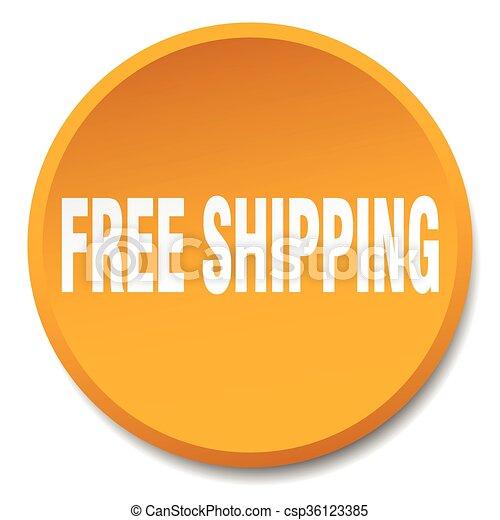 平ら, ボタン, 隔離された, 無料で, オレンジ, 出荷, 押し, ラウンド - csp36123385