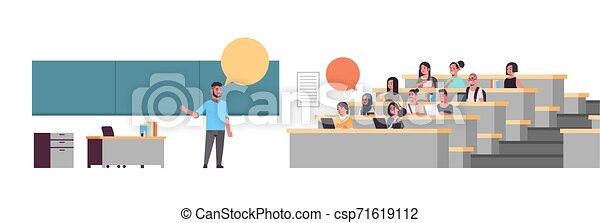 平ら, 上に, 概念, モデル, 生徒, 黒板, 大学, 教授, 長さ, フルである, 大学, チャット, コミュニケーション, 講義, 横, 教育, 泡, ホール - csp71619112