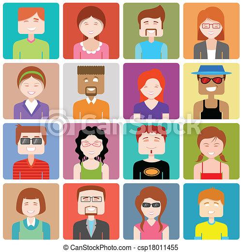平ら, 人々, デザイン, アイコン - csp18011455