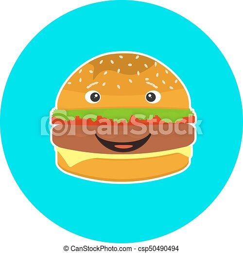 平ら, 子供, ハンバーガー, カラフルである, 特徴, 微笑 - csp50490494