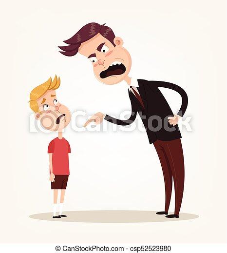 平ら 彼の 叱ること 特徴 怒る 父 イラスト 悲しい ベクトル