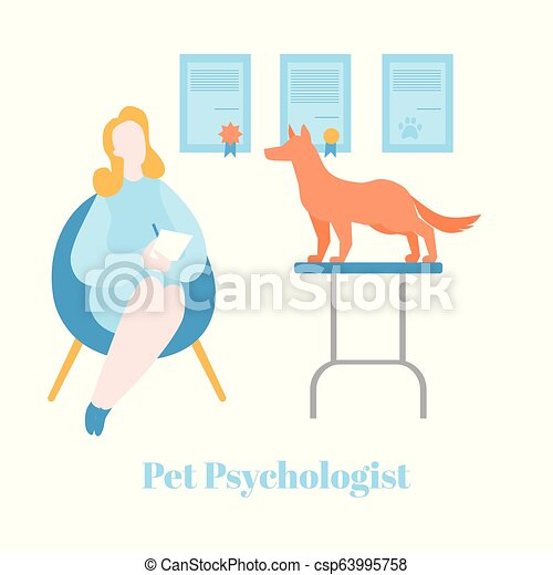 平ら, 心理学, ペット, therapist., 獣医, 犬, 持つこと, 心理上である, 療法, カウンセリング, 心理学者, 健康 - csp63995758