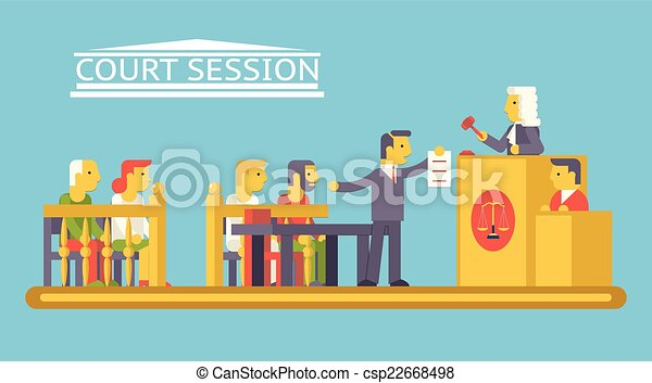 平ら, 提唱者, 法廷, 特徴, ludge, 正義, 現代, 現場, イラスト, ベクトル, デザイン, 弁護士, 最新流行である, 法律, 被告, テンプレート - csp22668498