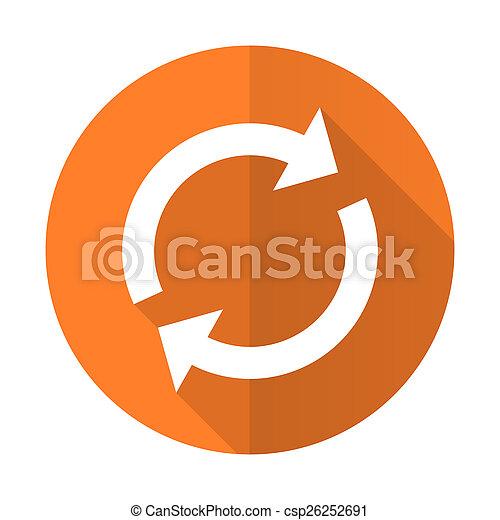 平ら, 新たにしなさい, 印, reload, オレンジ, アイコン - csp26252691