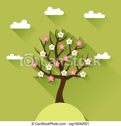 平ら, 春, 木, デザイン, 背景, style. - csp16042001