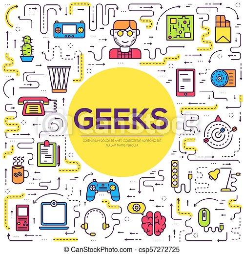 平ら, 概念, アウトライン, オフィスアイコン, geeks, 人々, それ, 薄くなりなさい, ベクトル, 仕事場, イラスト, 専門家, 線, デベロッパー, 技術, set., のまわり - csp57272725