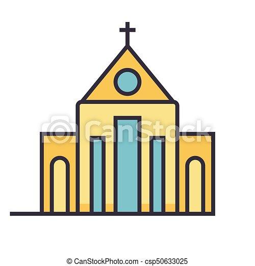 平ら 概念 イラスト 隔離された ベクトル 教会 線 アイコン 平ら