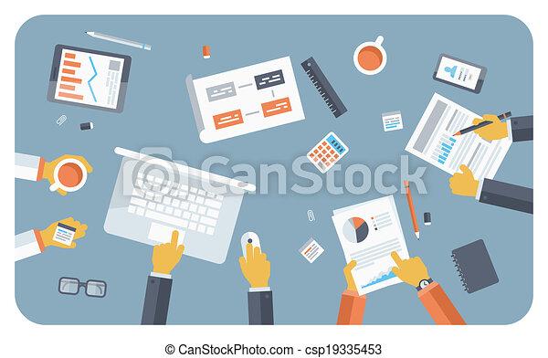 平ら, 概念, ミーティング, ビジネス 実例 - csp19335453