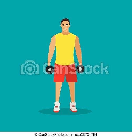 平ら, 概念, ライフスタイル, 健康, ジム, イラスト, ベクトル, icons., フィットネス, dumbbells., スポーツ, style., 人 - csp38731754