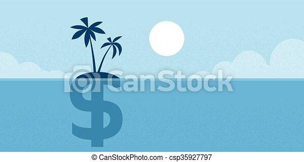平ら, 概念, 島, ドル, イラスト, 印, 沖合いに - csp35927797