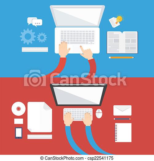 平ら, 概念, 要素, コンピュータ, デザイン, アイコン - csp22541175