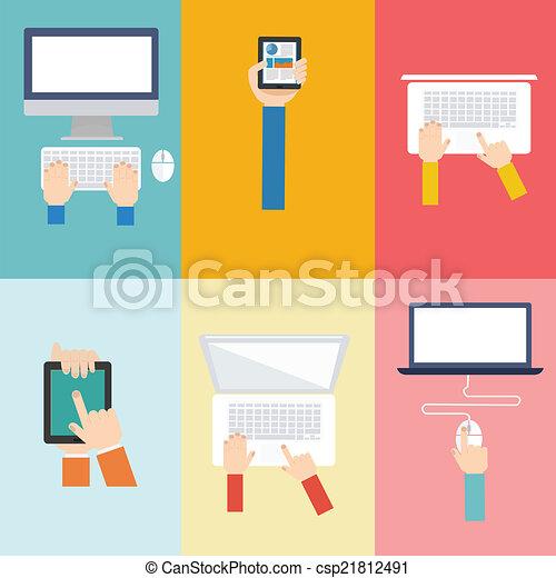 平ら, 概念, 要素, コンピュータ, デザイン, アイコン - csp21812491