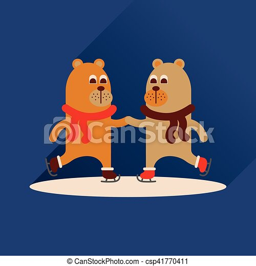 平ら, 熊, 長い間, スケート, 影, アイコン - csp41770411