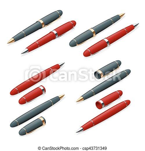 平ら, 等大, 金, ビジネス, 優雅である, 隔離された, めっきをされた, バックグラウンド。, ペン, ベクトル, イラスト, 白, 3d - csp43731349