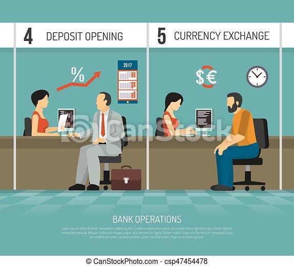 平ら 銀行 イラスト オペレーション 平ら オフィス 交換 実行