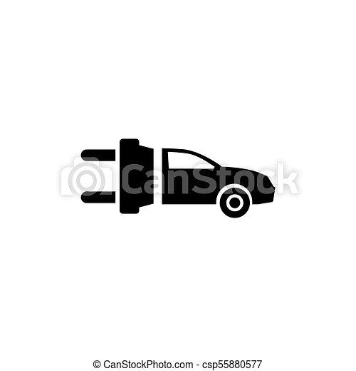 平ら, 電気である, eco, 自動車, ベクトル, アイコン - csp55880577