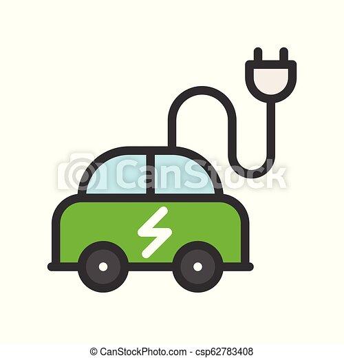 平ら, 電気 車, エネルギー, 緑, アイコン, デザイン - csp62783408