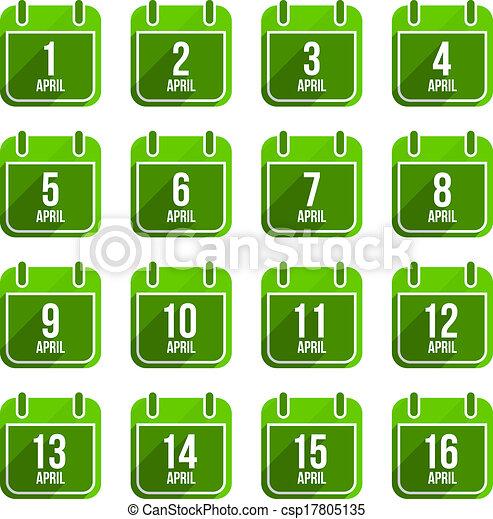 平ら, 13, セット, 日々, icons., 4 月, ベクトル, 年, カレンダー - csp17805135