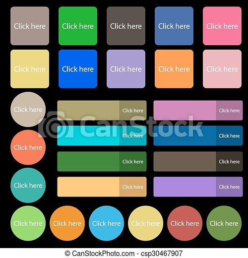 平ら, 7, セット, 20, button., ここに, 印, ベクトル, 出版物, icon., 多彩, クリック, buttons. - csp30467907