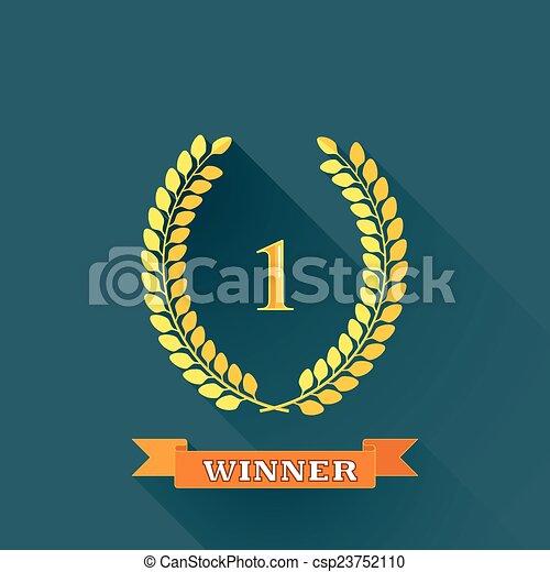 平ら, banner., 花輪, 勝者, イラスト, 1, ベクトル, デザイン, 長い間, 月桂樹, オレンジ, 場所, 影 - csp23752110