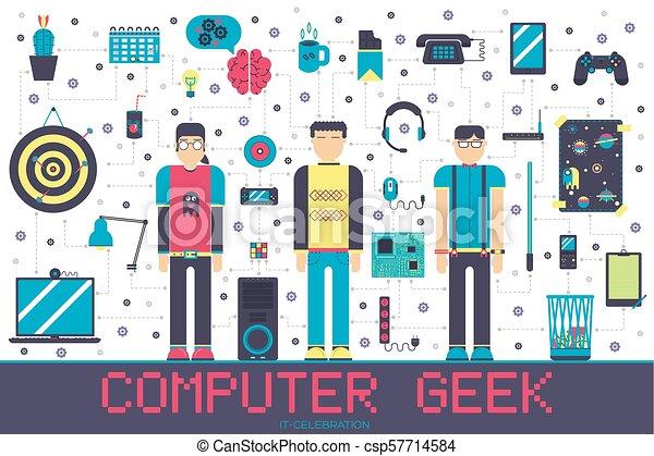 平ら, echnology, のまわり, オフィスアイコン, geeks, 人々, それ, ベクトル, 仕事場, イラスト, 専門家, デベロッパー, concept., set. - csp57714584